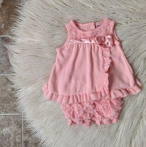 Nannette Baby Peach Ruffle Floral 2 Piece Set 6m